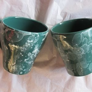 Marble Green Coffee Mugs Set of (2) New